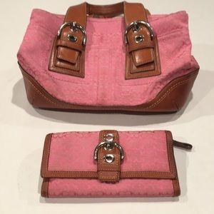 Coach signature design pink tote clutch set